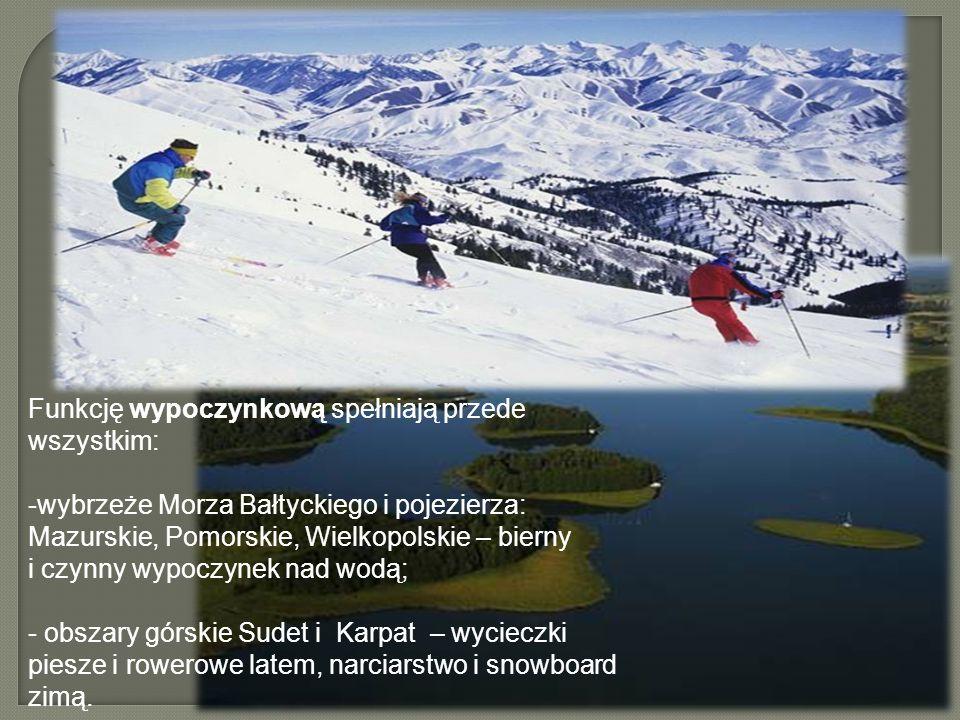 Funkcję wypoczynkową spełniają przede wszystkim: -wybrzeże Morza Bałtyckiego i pojezierza: Mazurskie, Pomorskie, Wielkopolskie – bierny i czynny wypoczynek nad wodą; - obszary górskie Sudet i Karpat – wycieczki piesze i rowerowe latem, narciarstwo i snowboard zimą.