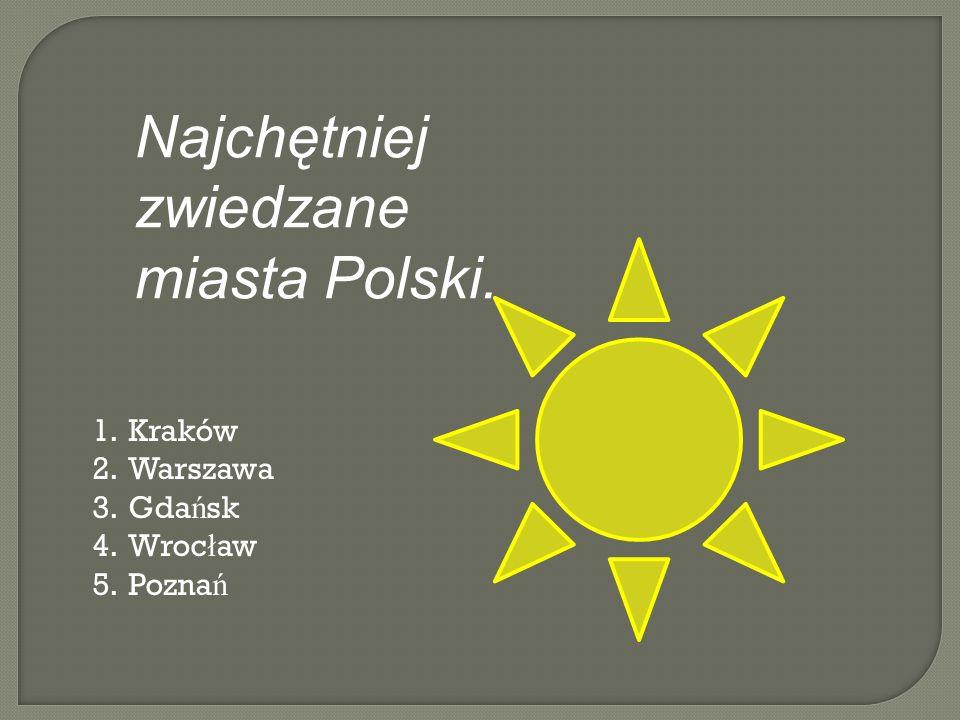 1.Kraków – nadwiślańskie miasto, które jest zdecydowanie najczęściej zwiedzanym miastem w Polsce.