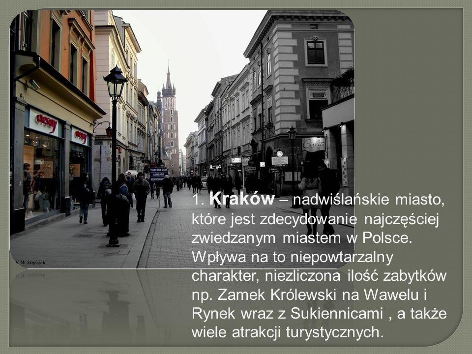 1. Kraków – nadwiślańskie miasto, które jest zdecydowanie najczęściej zwiedzanym miastem w Polsce.