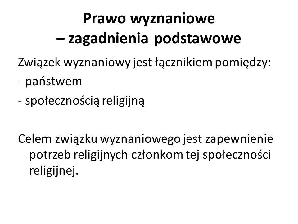 Prawo wyznaniowe – zagadnienia podstawowe Związek wyznaniowy jest łącznikiem pomiędzy: - państwem - społecznością religijną Celem związku wyznaniowego