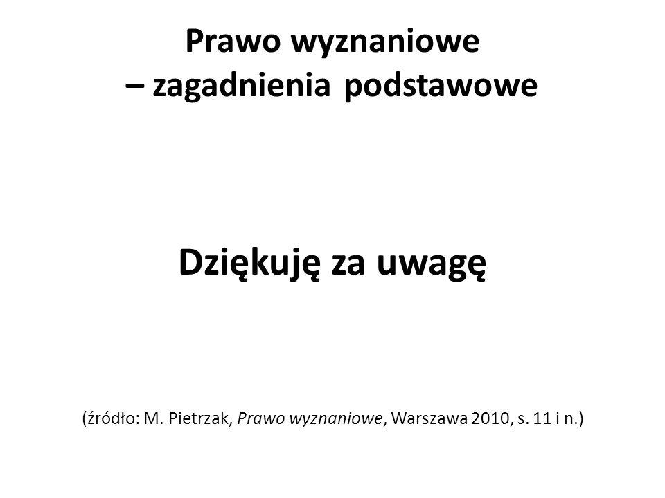 Prawo wyznaniowe – zagadnienia podstawowe Dziękuję za uwagę (źródło: M. Pietrzak, Prawo wyznaniowe, Warszawa 2010, s. 11 i n.)