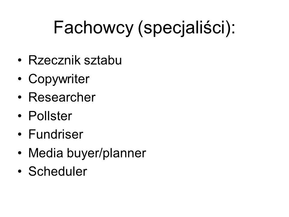 Fachowcy (specjaliści): Rzecznik sztabu Copywriter Researcher Pollster Fundriser Media buyer/planner Scheduler