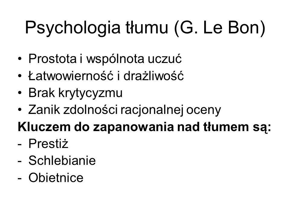 Psychologia tłumu (G. Le Bon) Prostota i wspólnota uczuć Łatwowierność i drażliwość Brak krytycyzmu Zanik zdolności racjonalnej oceny Kluczem do zapan