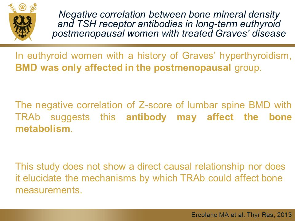 Negative correlation between bone mineral density and TSH receptor antibodies in long-term euthyroid postmenopausal women with treated Graves' disease In euthyroid women with a history of Graves' hyperthyroidism, BMD was only affected in the postmenopausal group.