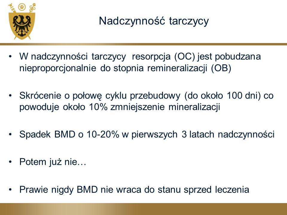 Nadczynność tarczycy W nadczynności tarczycy resorpcja (OC) jest pobudzana nieproporcjonalnie do stopnia remineralizacji (OB) Skrócenie o połowę cyklu przebudowy (do około 100 dni) co powoduje około 10% zmniejszenie mineralizacji Spadek BMD o 10-20% w pierwszych 3 latach nadczynności Potem już nie… Prawie nigdy BMD nie wraca do stanu sprzed leczenia