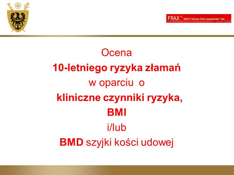 Ocena 10-letniego ryzyka złamań w oparciu o kliniczne czynniki ryzyka, BMI i/lub BMD szyjki kości udowej