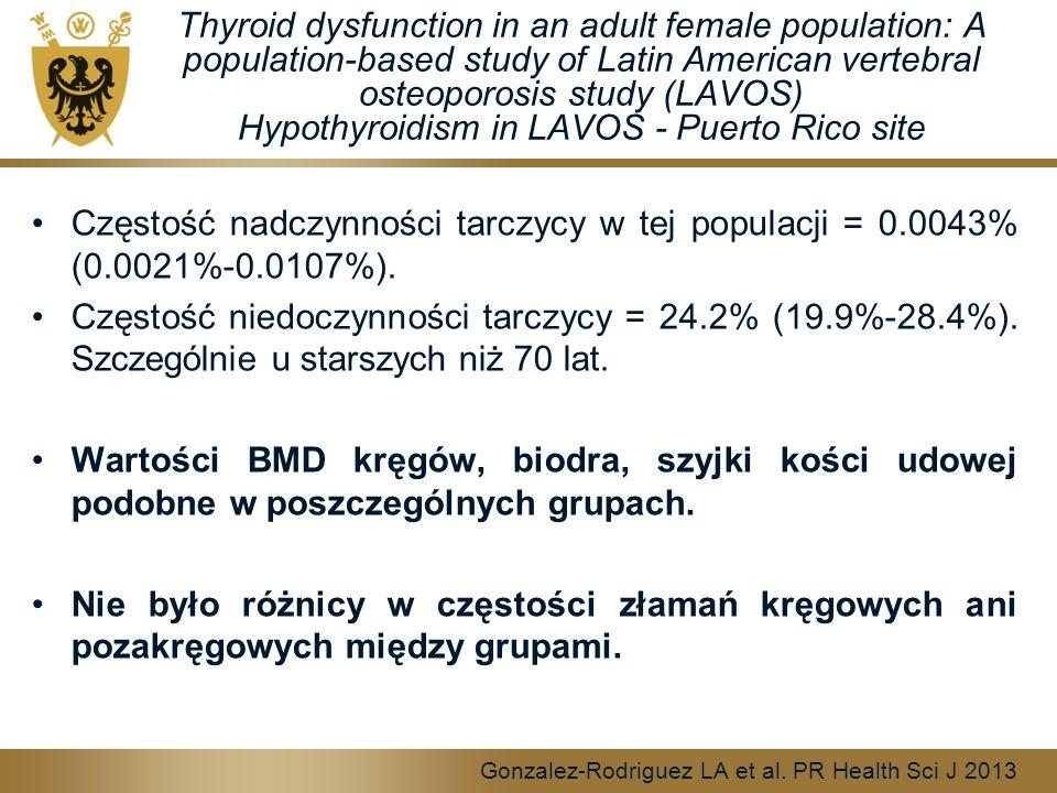 Thyroid dysfunction in an adult female population: A population-based study of Latin American vertebral osteoporosis study (LAVOS) Hypothyroidism in LAVOS - Puerto Rico site Częstość nadczynności tarczycy w tej populacji = 0.0043% (0.0021%-0.0107%).