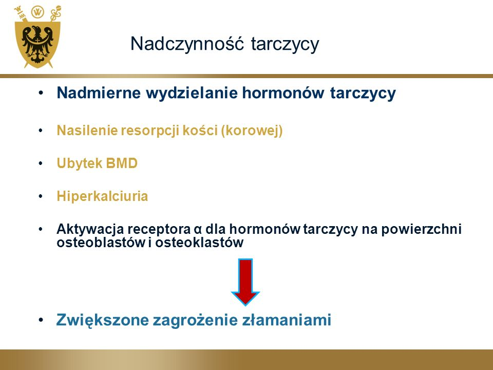 Nadczynność tarczycy Nadmierne wydzielanie hormonów tarczycy Nasilenie resorpcji kości (korowej) Ubytek BMD Hiperkalciuria Aktywacja receptora α dla h