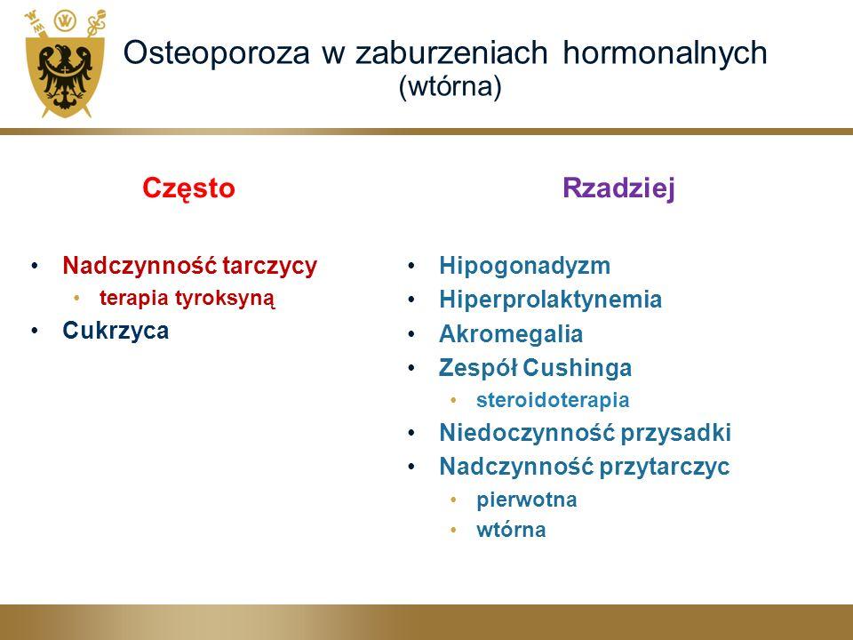 Osteoporoza w zaburzeniach hormonalnych (wtórna) Często Nadczynność tarczycy terapia tyroksyną Cukrzyca Rzadziej Hipogonadyzm Hiperprolaktynemia Akromegalia Zespół Cushinga steroidoterapia Niedoczynność przysadki Nadczynność przytarczyc pierwotna wtórna