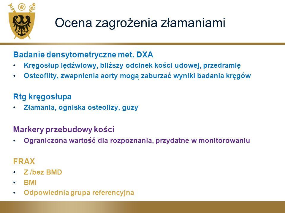 Ocena zagrożenia złamaniami Badanie densytometryczne met. DXA Kręgosłup lędźwiowy, bliższy odcinek kości udowej, przedramię Osteofiity, zwapnienia aor