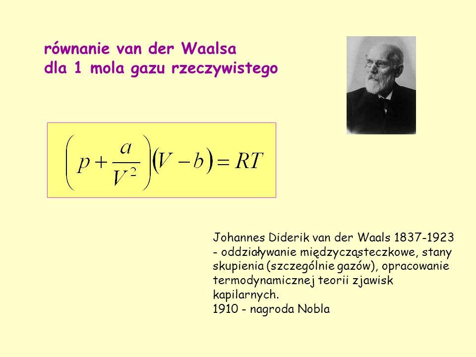 równanie van der Waalsa dla 1 mola gazu rzeczywistego Johannes Diderik van der Waals 1837-1923 - oddziaływanie międzycząsteczkowe, stany skupienia (szczególnie gazów), opracowanie termodynamicznej teorii zjawisk kapilarnych.