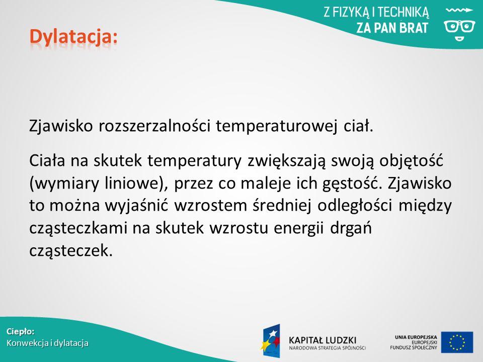 Zjawisko rozszerzalności temperaturowej ciał. Ciała na skutek temperatury zwiększają swoją objętość (wymiary liniowe), przez co maleje ich gęstość. Zj