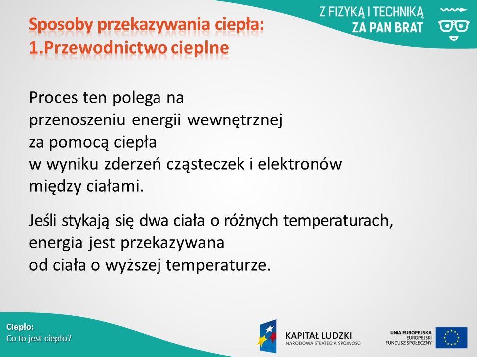 Ciepło: Co to jest ciepło? Proces ten polega na przenoszeniu energii wewnętrznej za pomocą ciepła w wyniku zderzeń cząsteczek i elektronów między ciał