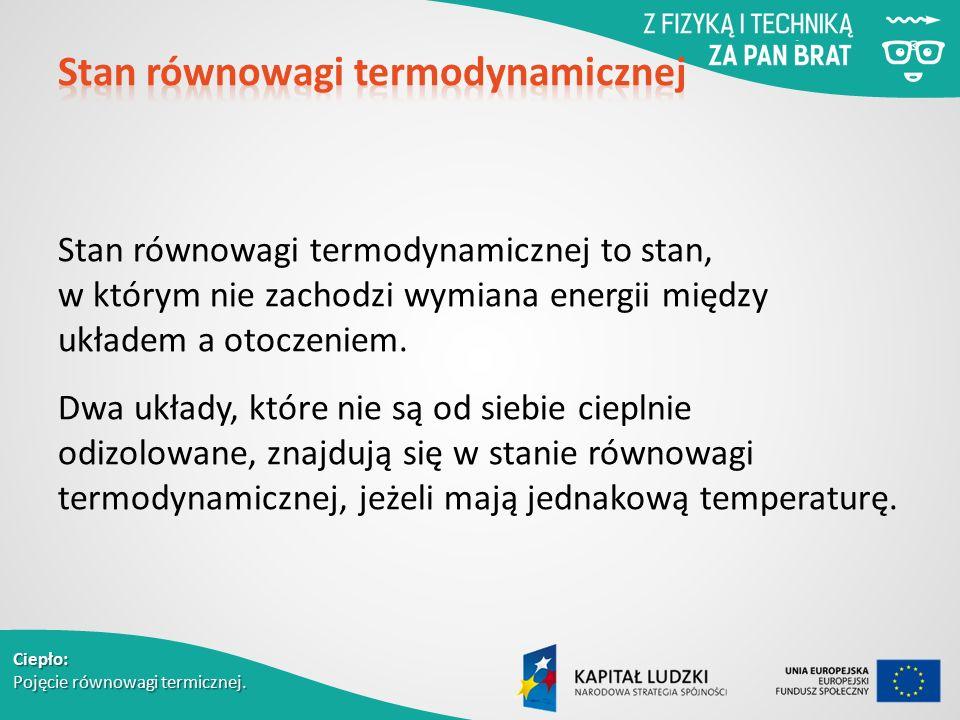 Ciepło: Pojęcie równowagi termicznej. Stan równowagi termodynamicznej to stan, w którym nie zachodzi wymiana energii między układem a otoczeniem. Dwa