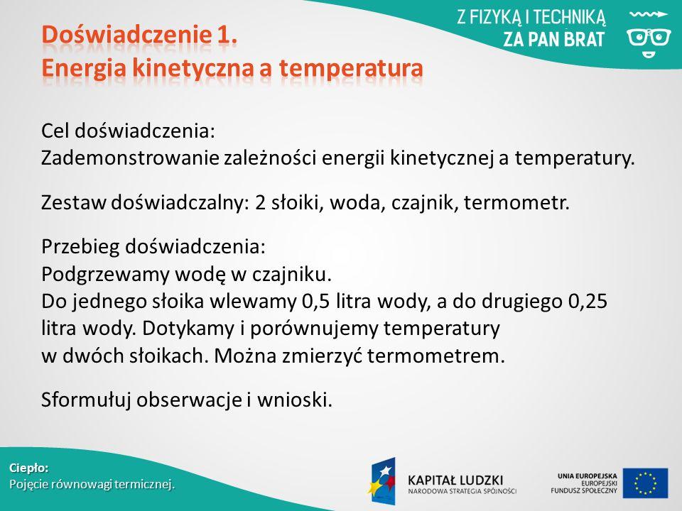Ciepło: Pojęcie równowagi termicznej. Cel doświadczenia: Zademonstrowanie zależności energii kinetycznej a temperatury. Zestaw doświadczalny: 2 słoiki
