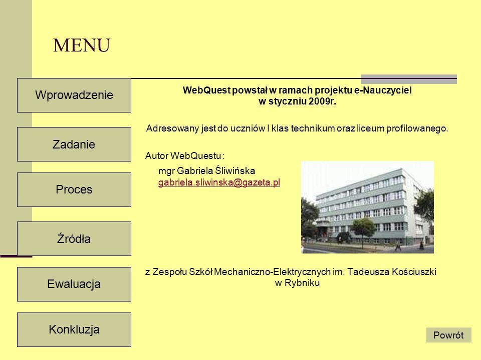 Wprowadzenie Zadanie Proces Źródła Ewaluacja Konkluzja Powrót MENU WebQuest powstał w ramach projektu e-Nauczyciel w styczniu 2009r.