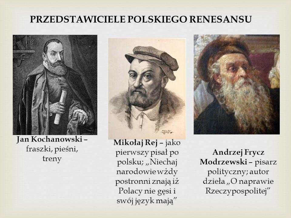 """Jan Kochanowski – fraszki, pieśni, treny Mikołaj Rej – jako pierwszy pisał po polsku; """"Niechaj narodowie wżdy postronni znają iż Polacy nie gęsi i swó"""