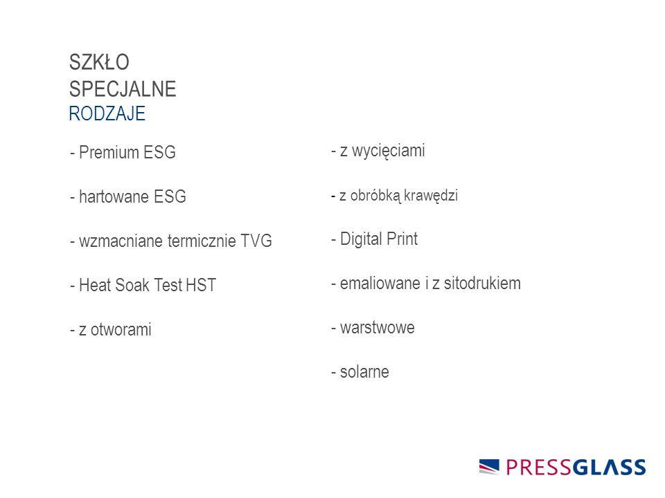 - z wycięciami - z obróbką krawędzi - Digital Print - emaliowane i z sitodrukiem - warstwowe - solarne - Premium ESG - hartowane ESG - wzmacniane termicznie TVG - Heat Soak Test HST - z otworami SZKŁO SPECJALNE RODZAJE