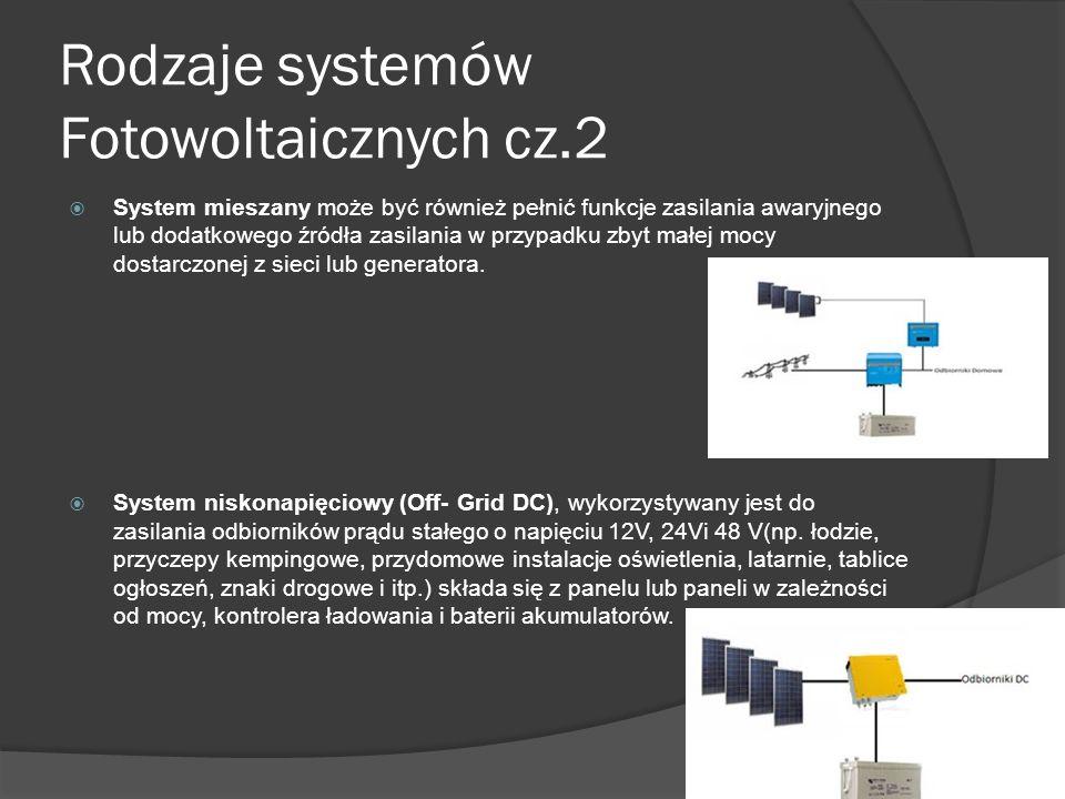 Rodzaje systemów Fotowoltaicznych cz.1  System podłączony do sieci (On- Grid), najczęściej spotykany system z racji prostoty wykonania składa się z paneli fotowoltaicznych, inwertera, którego zadaniem jest przetworzenie energii wytworzonej przez panele i dostosowanie jej do wymagań sieci energetycznej oraz licznika energii, jeżeli chcemy nadwyżki sprzedawać zakładowi energetycznemu.