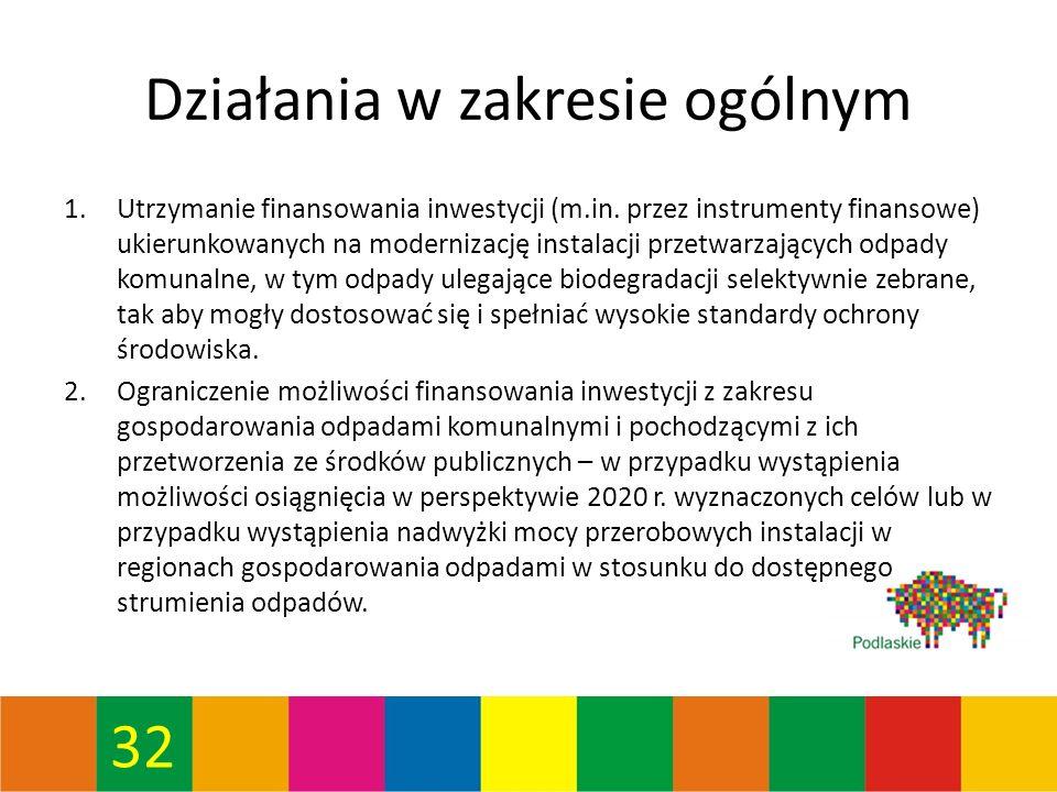 32 Działania w zakresie ogólnym 1.Utrzymanie finansowania inwestycji (m.in.