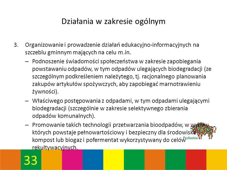 33 Działania w zakresie ogólnym 3.Organizowanie i prowadzenie działań edukacyjno-informacyjnych na szczeblu gminnym mających na celu m.in.