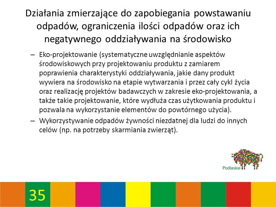 35 Działania zmierzające do zapobiegania powstawaniu odpadów, ograniczenia ilości odpadów oraz ich negatywnego oddziaływania na środowisko – Eko-projektowanie (systematyczne uwzględnianie aspektów środowiskowych przy projektowaniu produktu z zamiarem poprawienia charakterystyki oddziaływania, jakie dany produkt wywiera na środowisko na etapie wytwarzania i przez cały cykl życia oraz realizację projektów badawczych w zakresie eko-projektowania, a także takie projektowanie, które wydłuża czas użytkowania produktu i pozwala na wykorzystanie elementów do powtórnego użycia).