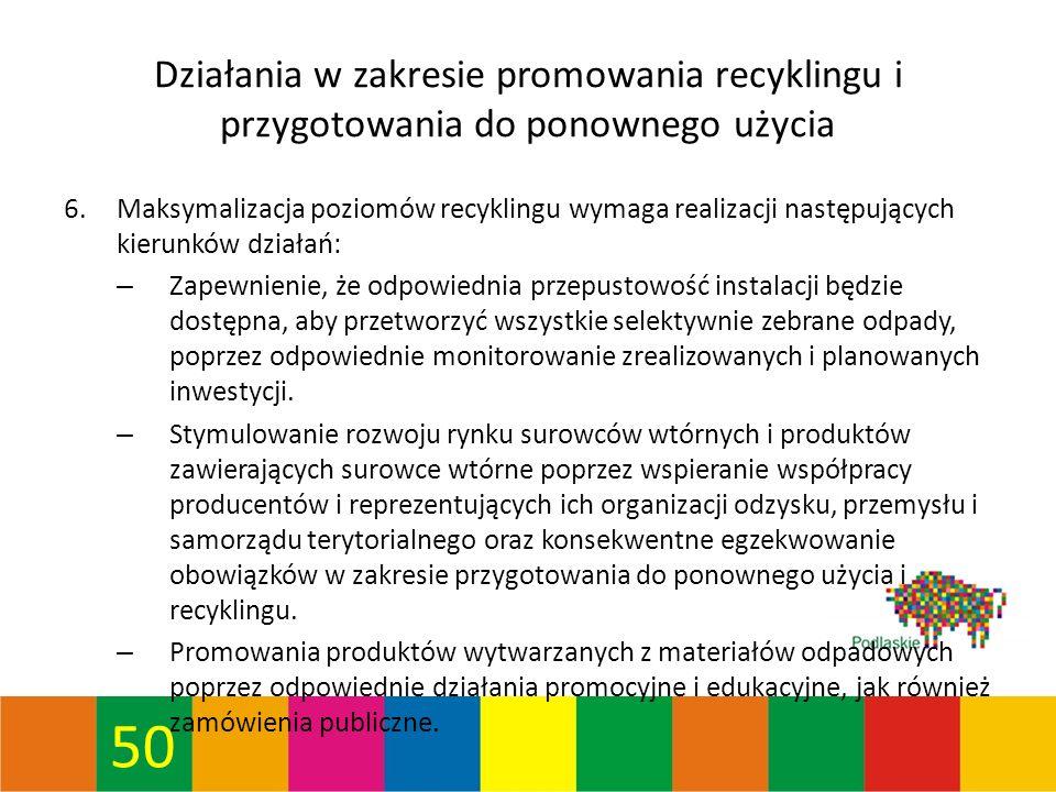 50 Działania w zakresie promowania recyklingu i przygotowania do ponownego użycia 6.Maksymalizacja poziomów recyklingu wymaga realizacji następujących kierunków działań: – Zapewnienie, że odpowiednia przepustowość instalacji będzie dostępna, aby przetworzyć wszystkie selektywnie zebrane odpady, poprzez odpowiednie monitorowanie zrealizowanych i planowanych inwestycji.