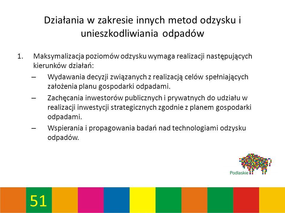 51 Działania w zakresie innych metod odzysku i unieszkodliwiania odpadów 1.Maksymalizacja poziomów odzysku wymaga realizacji następujących kierunków działań: – Wydawania decyzji związanych z realizacją celów spełniających założenia planu gospodarki odpadami.