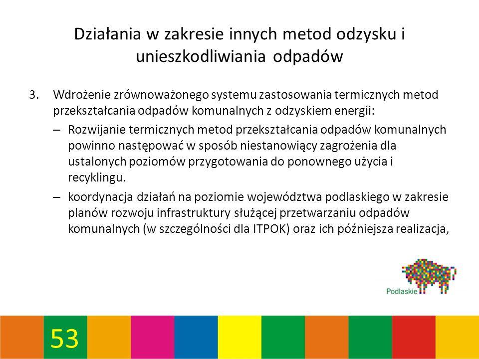 53 Działania w zakresie innych metod odzysku i unieszkodliwiania odpadów 3.Wdrożenie zrównoważonego systemu zastosowania termicznych metod przekształcania odpadów komunalnych z odzyskiem energii: – Rozwijanie termicznych metod przekształcania odpadów komunalnych powinno następować w sposób niestanowiący zagrożenia dla ustalonych poziomów przygotowania do ponownego użycia i recyklingu.