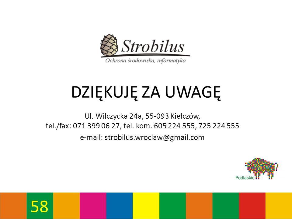 58 DZIĘKUJĘ ZA UWAGĘ Ul. Wilczycka 24a, 55-093 Kiełczów, tel./fax: 071 399 06 27, tel.