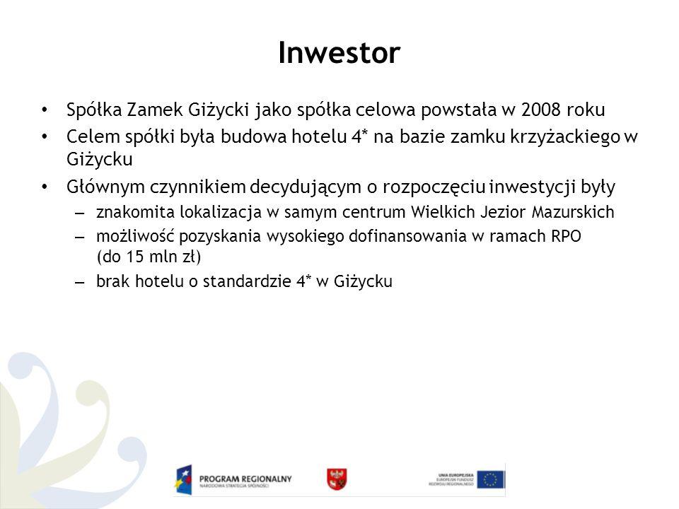 Inwestor Spółka Zamek Giżycki jako spółka celowa powstała w 2008 roku Celem spółki była budowa hotelu 4* na bazie zamku krzyżackiego w Giżycku Głównym czynnikiem decydującym o rozpoczęciu inwestycji były – znakomita lokalizacja w samym centrum Wielkich Jezior Mazurskich – możliwość pozyskania wysokiego dofinansowania w ramach RPO (do 15 mln zł) – brak hotelu o standardzie 4* w Giżycku