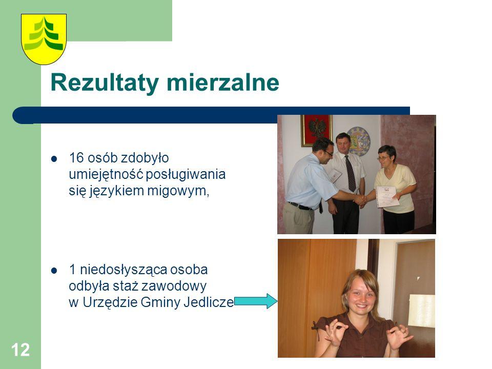12 Rezultaty mierzalne 16 osób zdobyło umiejętność posługiwania się językiem migowym, 1 niedosłysząca osoba odbyła staż zawodowy w Urzędzie Gminy Jedlicze