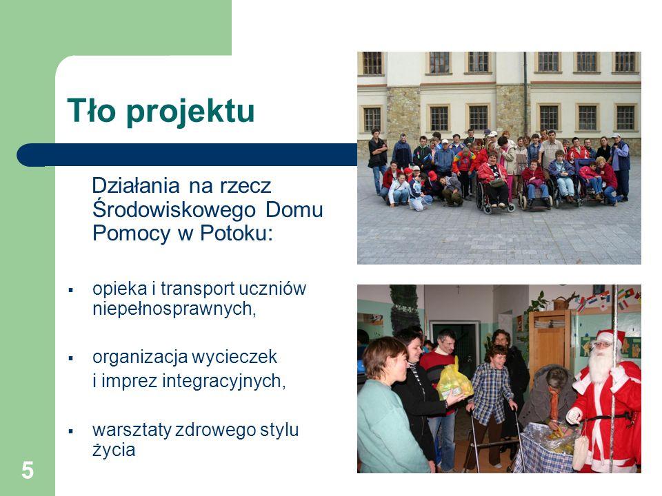 5 Tło projektu Działania na rzecz Środowiskowego Domu Pomocy w Potoku:  opieka i transport uczniów niepełnosprawnych,  organizacja wycieczek i imprez integracyjnych,  warsztaty zdrowego stylu życia