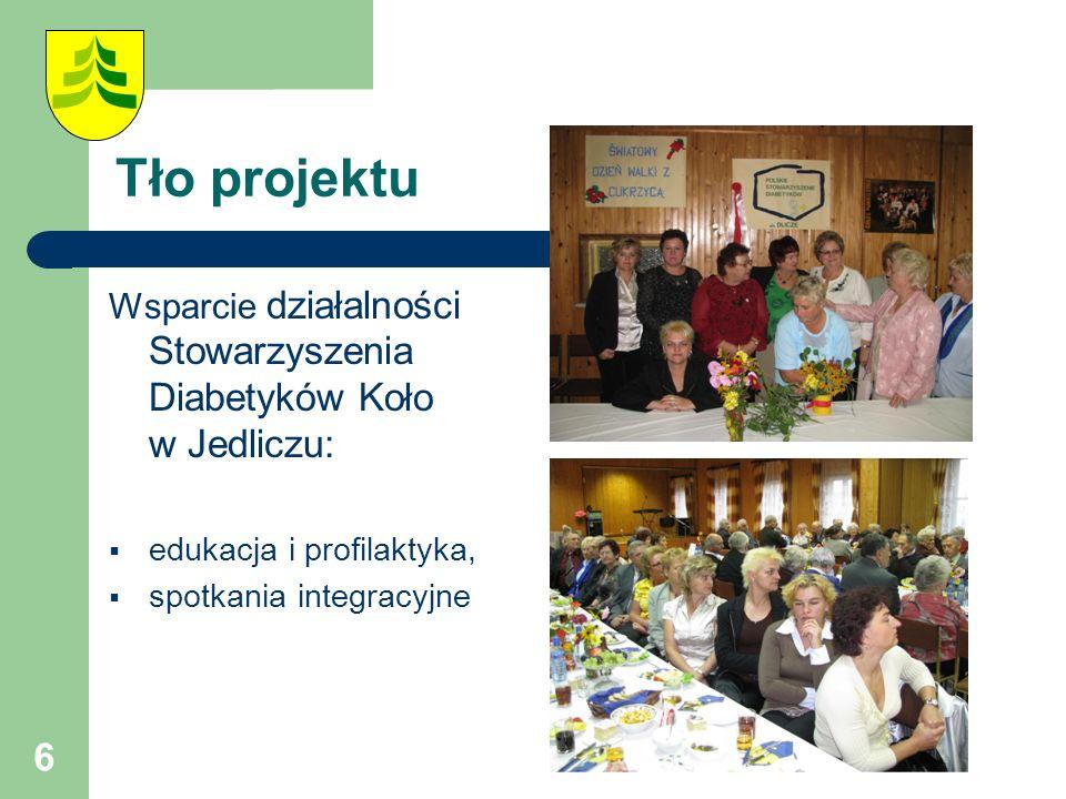6 Tło projektu Wsparcie działalności Stowarzyszenia Diabetyków Koło w Jedliczu:  edukacja i profilaktyka,  spotkania integracyjne