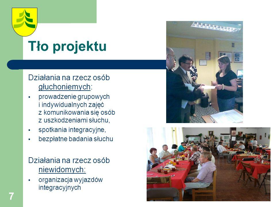 7 Tło projektu Działania na rzecz osób głuchoniemych:  prowadzenie grupowych i indywidualnych zajęć z komunikowania się osób z uszkodzeniami słuchu,  spotkania integracyjne,  bezpłatne badania słuchu Działania na rzecz osób niewidomych:  organizacja wyjazdów integracyjnych