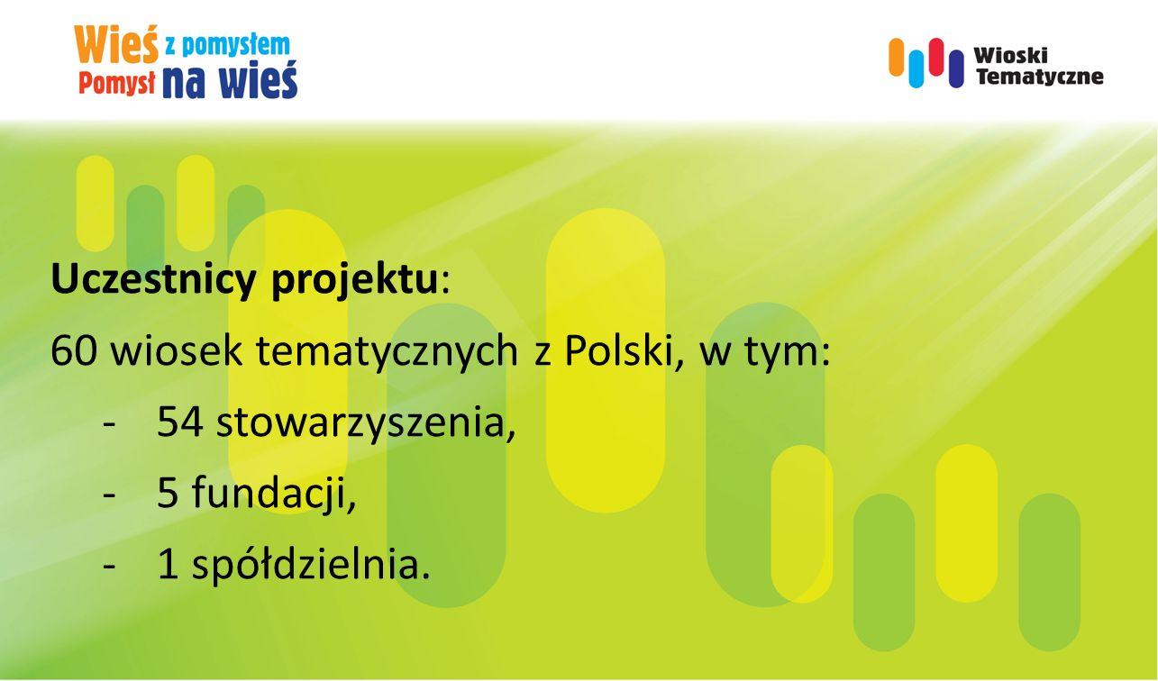 Uczestnicy projektu: 60 wiosek tematycznych z Polski, w tym: -54 stowarzyszenia, -5 fundacji, -1 spółdzielnia.