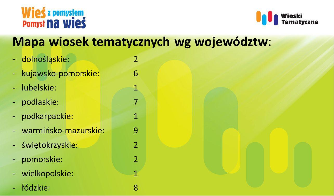 Mapa wiosek tematycznych wg województw: -dolnośląskie:2 -kujawsko-pomorskie:6 -lubelskie:1 -podlaskie:7 -podkarpackie:1 -warmińsko-mazurskie:9 -świętokrzyskie:2 -pomorskie:2 -wielkopolskie:1 -łódzkie:8