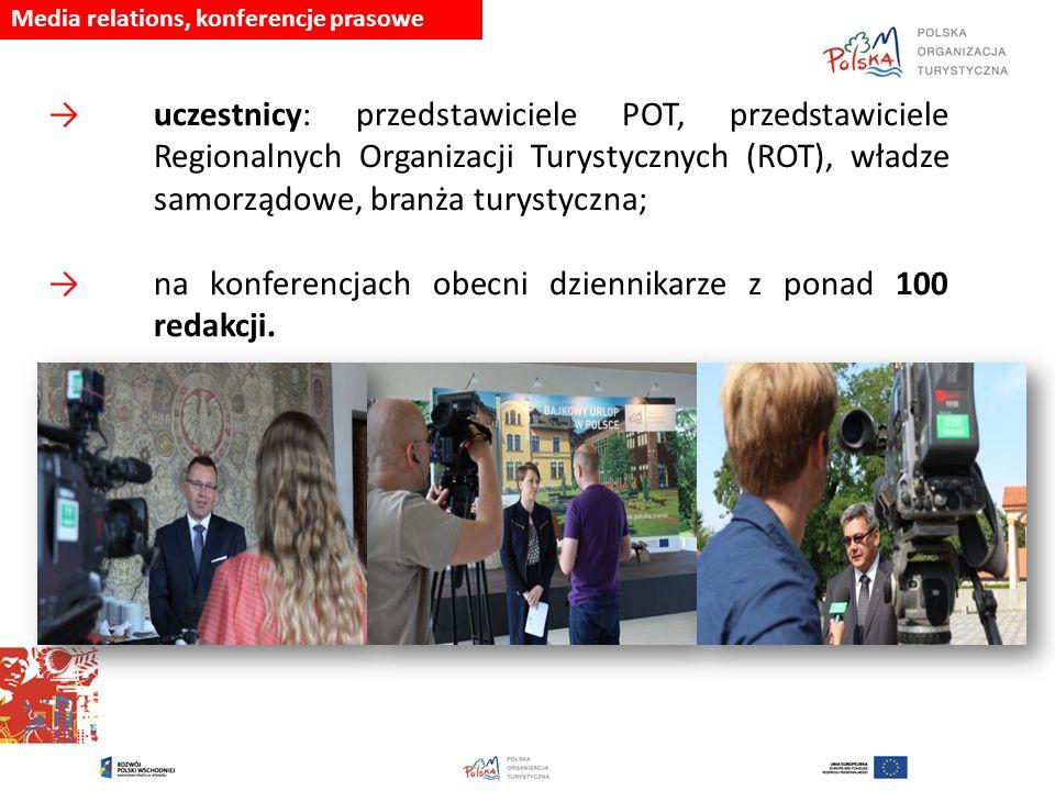 Media relations, konferencje prasowe → uczestnicy: przedstawiciele POT, przedstawiciele Regionalnych Organizacji Turystycznych (ROT), władze samorządo