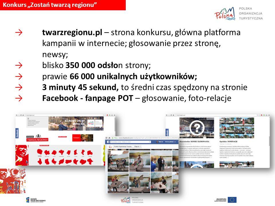 """Konkurs """"Zostań twarzą regionu"""" → twarzregionu.pl – strona konkursu, główna platforma kampanii w internecie; głosowanie przez stronę, newsy; → blisko"""
