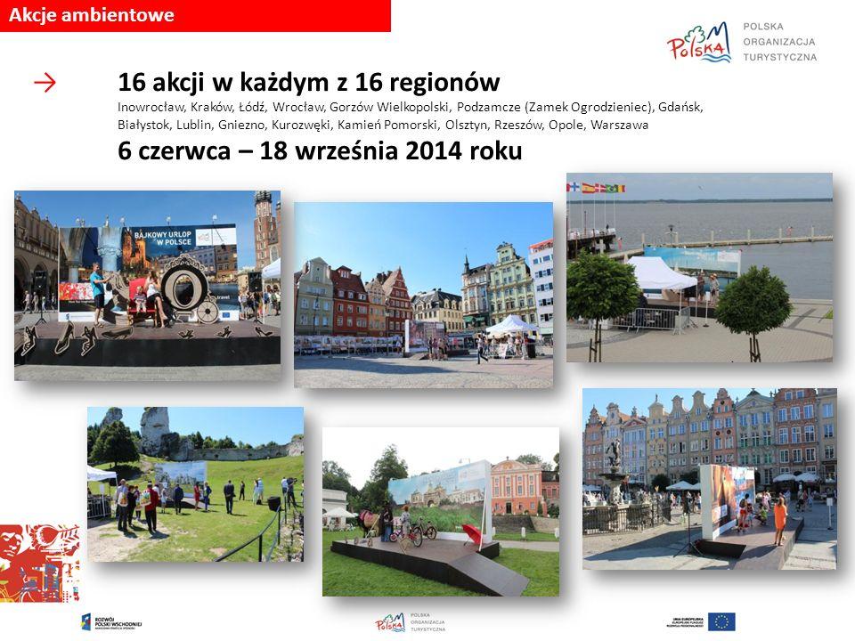 Akcje ambientowe →16 akcji w każdym z 16 regionów Inowrocław, Kraków, Łódź, Wrocław, Gorzów Wielkopolski, Podzamcze (Zamek Ogrodzieniec), Gdańsk, Biał
