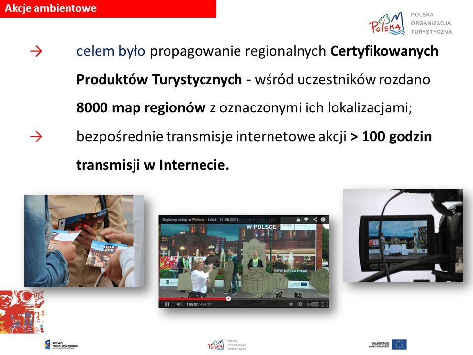 Akcje ambientowe → celem było propagowanie regionalnych Certyfikowanych Produktów Turystycznych - wśród uczestników rozdano 8000 map regionów z oznaczonymi ich lokalizacjami; → bezpośrednie transmisje internetowe akcji > 100 godzin transmisji w Internecie.