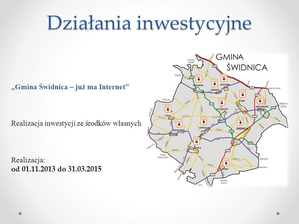"""Działania inwestycyjne """"Gmina Świdnica – już ma Internet"""" Realizacja inwestycji ze środków własnych Realizacja: od 01.11.2013 do 31.03.2015"""