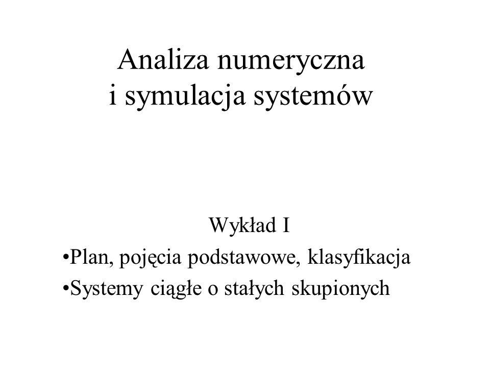 Analiza numeryczna i symulacja systemów Wykład I Plan, pojęcia podstawowe, klasyfikacja Systemy ciągłe o stałych skupionych