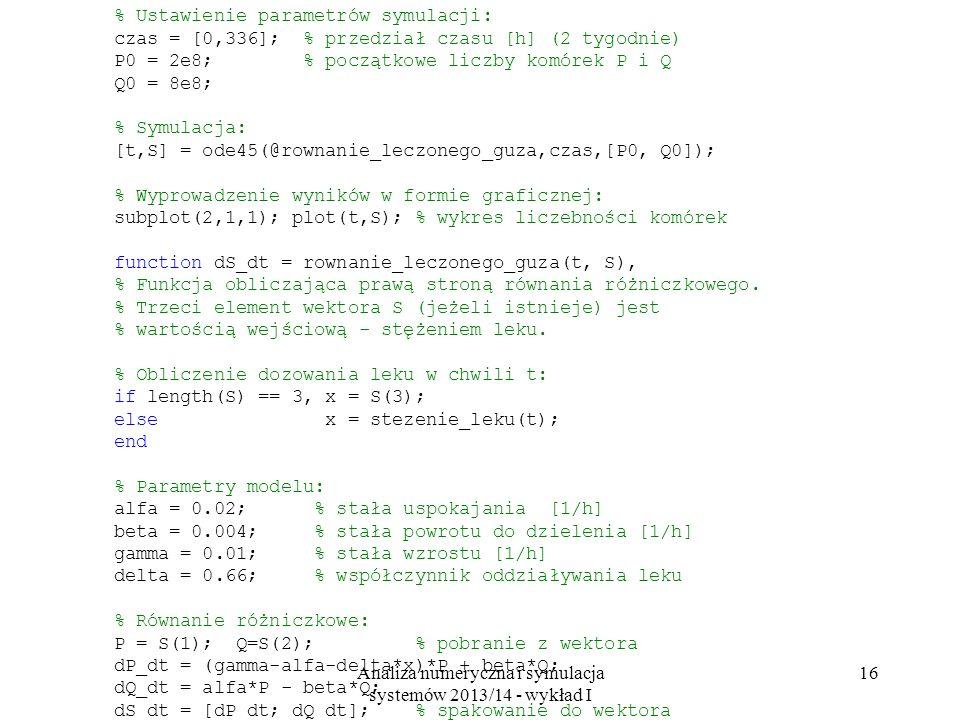 Analiza numeryczna i symulacja systemów 2013/14 - wykład I 16 % Ustawienie parametrów symulacji: czas = [0,336]; % przedział czasu [h] (2 tygodnie) P0 = 2e8; % początkowe liczby komórek P i Q Q0 = 8e8; % Symulacja: [t,S] = ode45(@rownanie_leczonego_guza,czas,[P0, Q0]); % Wyprowadzenie wyników w formie graficznej: subplot(2,1,1); plot(t,S); % wykres liczebności komórek function dS_dt = rownanie_leczonego_guza(t, S), % Funkcja obliczająca prawą stroną równania różniczkowego.