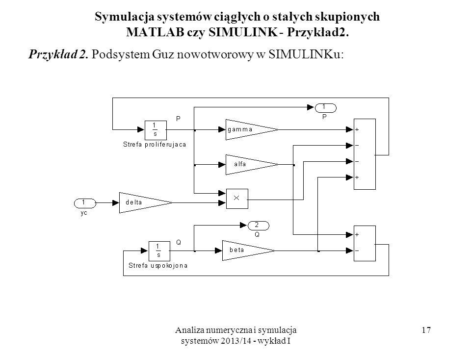 Analiza numeryczna i symulacja systemów 2013/14 - wykład I 17 Symulacja systemów ciągłych o stałych skupionych MATLAB czy SIMULINK - Przykład2. Przykł