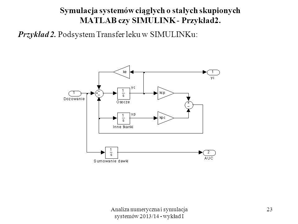 Analiza numeryczna i symulacja systemów 2013/14 - wykład I 23 Symulacja systemów ciągłych o stałych skupionych MATLAB czy SIMULINK - Przykład2. Przykł