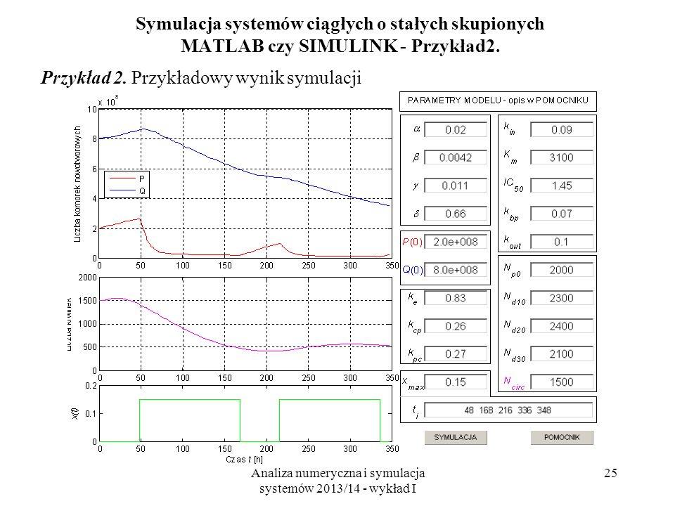 Analiza numeryczna i symulacja systemów 2013/14 - wykład I 25 Symulacja systemów ciągłych o stałych skupionych MATLAB czy SIMULINK - Przykład2. Przykł