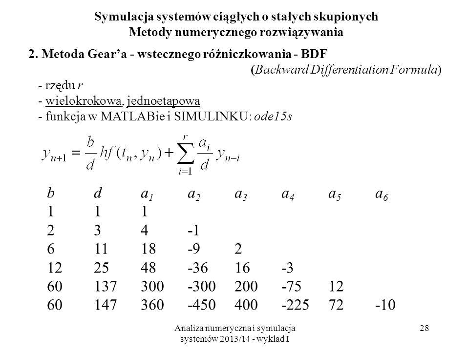 Analiza numeryczna i symulacja systemów 2013/14 - wykład I 28 Symulacja systemów ciągłych o stałych skupionych Metody numerycznego rozwiązywania 2.