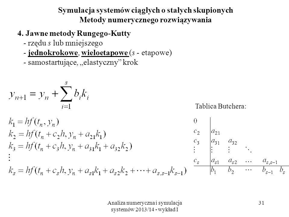 Analiza numeryczna i symulacja systemów 2013/14 - wykład I 31 Symulacja systemów ciągłych o stałych skupionych Metody numerycznego rozwiązywania 4.