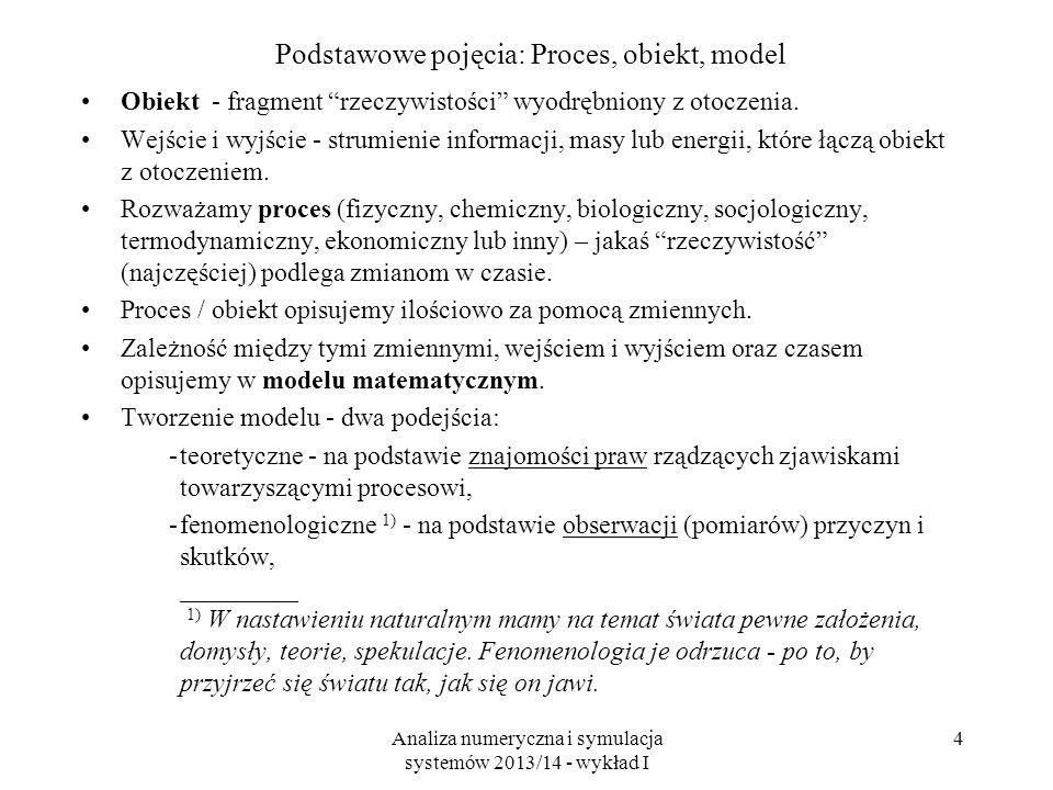 Analiza numeryczna i symulacja systemów 2013/14 - wykład I 4 Podstawowe pojęcia: Proces, obiekt, model Obiekt - fragment rzeczywistości wyodrębniony z otoczenia.